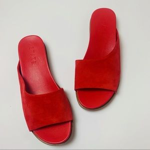 1. State Red Slide On Sandals Faux Suede Leather